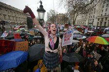 Thousands defied the winter cold to attend marches, notably in London and Berlin, to mark  a global day of protests at violence and discrimination against women, following on from Saturday rallies in the United States