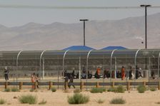 Imprisoned immigrants pictured at the US Immigration and Customs Enforcement (ICE) Adelanto Detention Facility in Adelanto, California on September 6, 2016