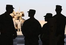 US troops are pictured at Camp Buehring in the northwest of Kuwait on December 8, 2014