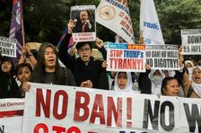 US President Donald Trump's contentious travel ban has sparked global protests, such as this demonstration in Hong Kong, on February 5, 2017