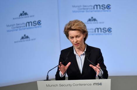 La ministre allemande de la Défense Ursula von der Leyen, lors d'une conférence sur la sécurité à Munich, le 16 février 2018