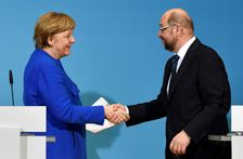 German Chancellor Angela Merkel and leader of the Social Democratic Party Martin Schulz have renewed their right-left coalition