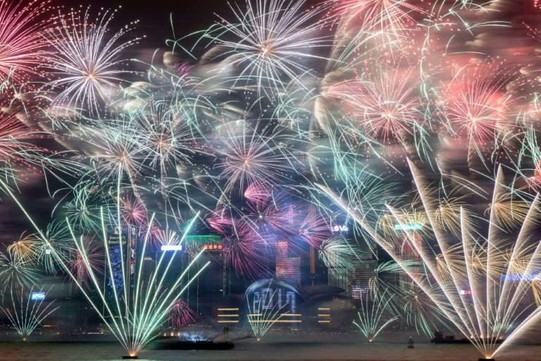 Fireworks explode over Victoria harbour during New Year celebrations in Hong Kong on January 1, 2017