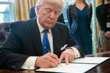 Donald Trump signe un décret relançant le projet Keystone XL, le 24 janvier 2017 à la Maison Blanche