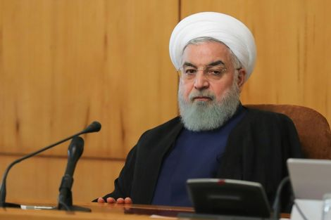 """Iranian President Hassan Rouhani says Saudi journalist Jamal Khashoggi's """"heinous murder"""" would have been unthinkable """"without US backing"""" as he chairs a cabinet meeting in Tehran on October 24, 2018"""