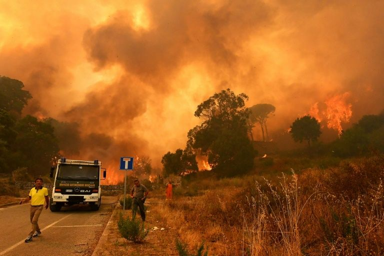 Under fire: Fifteen Italian firefighters arrested for starting blazes to receive bonuses