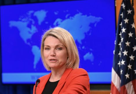 """US State Department spokesperson Heather Nauert, pictured May 2018, says that the US """"continues to support Georgia's sovereignty"""" as of the 2008 ceasefire"""