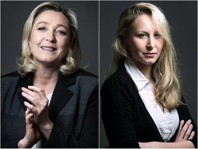 Un montage photo réalisé le 9 décembre 2015 montre Marine Le Pen, candidate FN en Nord-Pas-de-Calais-Picardie (g) et Marion Maréchal-Le Pen, candidate en Paca