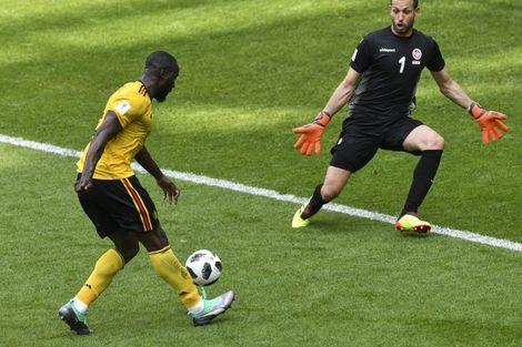 L'avant-centre belge Romelu Lukaku inscrit son 2e but contre la Tunisie, le 23 juin 2018 à Moscou