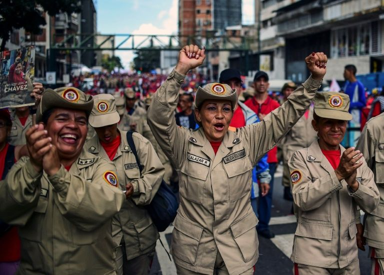 Venezuelan militias demonstrate their support to the government of President Nicolas Maduro, in Caracas, on August 14, 2017