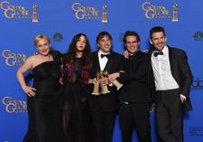 """Boyhood"" actors and director (from L) Patricia Arquette, Lorelei Linklater, director Richard Linklater, Ellar Coltrane and Ethan Hawke pose at the Golden Globes on January 11, 2015 in Beverly Hills, California"
