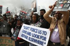 African asylum seekers, mostly from Eritrea, protest Israel's deportation policy in front of the Supreme Court in Jerusalem on January 26, 2017