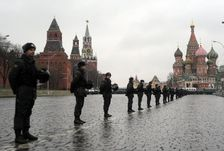 File photo shows a cordon of interior ministry troops in in front of the Kremlin (L) and St. Basil's Cathedral (R) in Moscow's Red Square on December 10, 2011