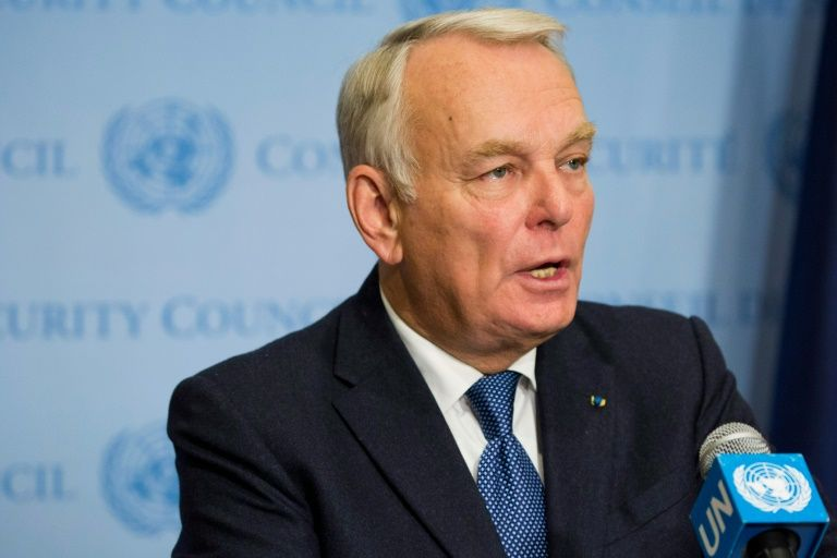 French Foreign Minister Jean-Marc Ayrault speaks to the media after the United Nations Security Council voted on a French-Spanish resolution on Syria at the UN headquarters, October 8, 2016, in New York City