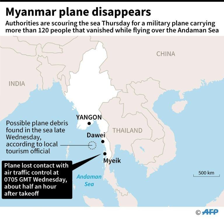 Crash d'avion en Birmanie: des morceaux de l'épave et des corps retrouvés