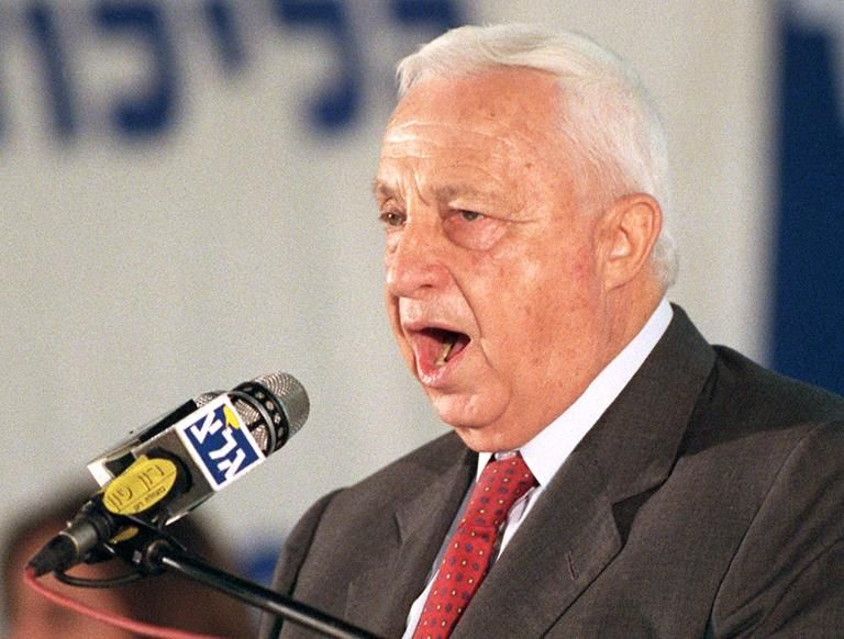 Ariel Sharon speaks on December 15, 1999 in Tel Aviv