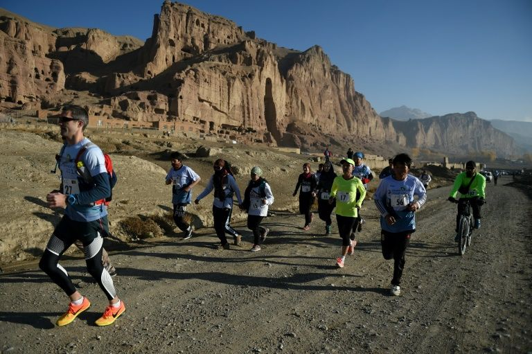 Afghan and international marathon runners take part in the Bamiyan international marathon on November 4, 2016