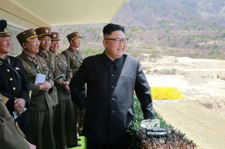 It is assumed that North Korea's conventional firing drill on Tuesday to mark the 85th anniversary of its army was overseen by leader Kim Jong-Un