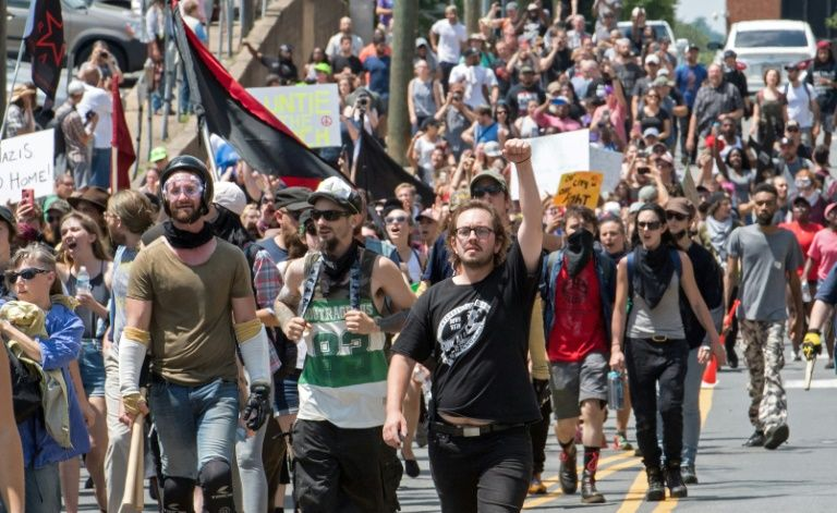 Protesters march in Charlottesville Virginia