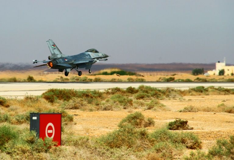 An F-16 Fighting Falcon from the Royal Jordanian Air Force takes off during an exercise at an air base in northern Jordan on May 12, 2014