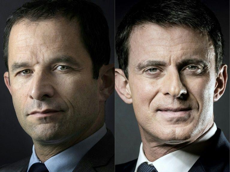 Photomontage réalisé le 22 janvier 2017 de Benoît Hamon (G) et Manuel Valls à Paris