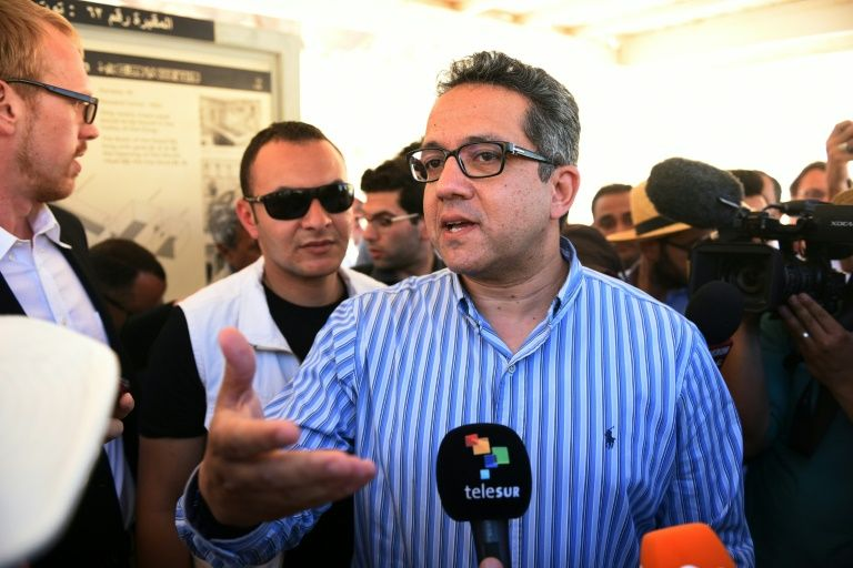 Egypt's antiquities minister Khaled al-Anani speaks to the press outside King Tutankhamun's tomb in the Valley of the Kings, close to Luxor, 500 kms south of the capital Cairo on April 1, 2016