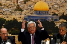 Palestinian president Mahmoud Abbas speaking in the West Bank city of Ramallah on January 14, 2018