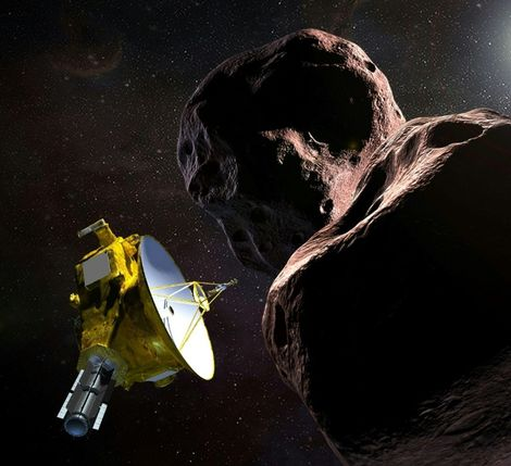 "This artist's illustration obtained from NASA on December 21, 2018 shows the New Horizons spacecraft encountering 2014 MU69 – nicknamed ""Ultima Thule"" – a Kuiper Belt object that orbits one billion miles beyond Pluto"