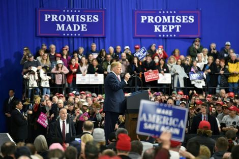 US President Donald Trump campaigned for Saccone at a Make America Great Again Rally on March 10 in Moon Township, Pennsylvania
