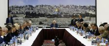 Palestinian president Mahmud Abbas chairs a meeting of the Palestinian leadership in the West Bank city of Ramallah on September 25, 2017