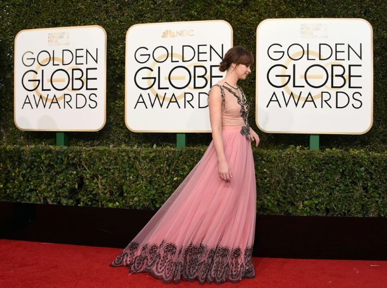 Felicity Jones arrives at the 74th annual Golden Globe Awards, January 8, 2017, at the Beverly Hilton Hotel in Beverly Hills, California
