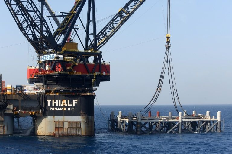 A crane vessel puts in place the platform jacket for the Leviathan natural gas field in the Mediterranean Sea, some 125 kilometers off the coast of Israel
