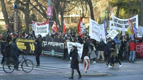 Several leftist groups marched in Vienna on Monday against Austria's new coalition government, which includes the far-right Freedom Party