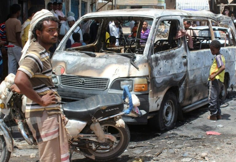"""Three Yemeni soldiers were killed and seven people wounded when a """"dismantled"""" mine exploded inside a vehicle stopped in a marketplace on September 3, 2016"""