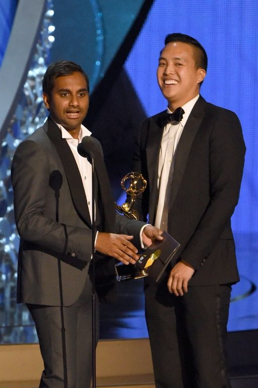 "Aziz Ansari and Alan Yang (R) won an Emmy for writing the comedy series ""Master of None"""