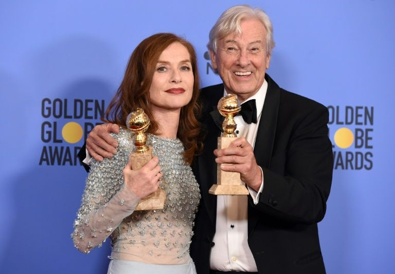 French actress Isabelle Huppert and director Paul Verhoeven, January 8 2017 in Los Angeles