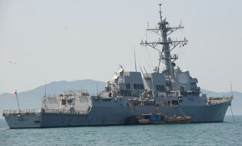 Le destroyer Chafee de l'US Navy, dans le port de Danang, le 25 avril 2012, au Vietnam