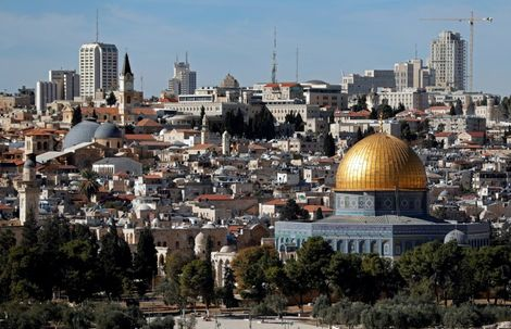 A general view of the city of Jerusalem shows the Dome of the Rock mosque on December 4, 2017