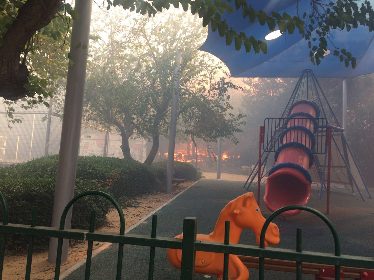 Flames and smoke at a children's playground in Zichron Ya'akov on November 22, 2016