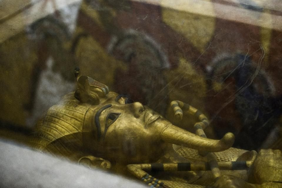 The golden sarcophagus of King Tutankhamun in his burial chamber in the Valley of the Kings, close to Luxor, on September 28, 2015