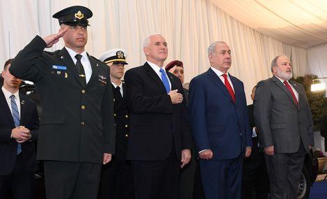 رئيس الوزراء الاسرائيلي نتنياهو يستقبل نائب الرئيس الامريكي بنس