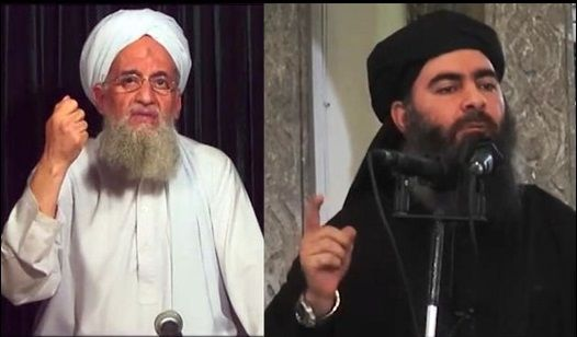 Al Qaida leader Ayman al-Zawahiri (Left) and Islamic State leader Abu Bakr al-Baghdadi (Right)