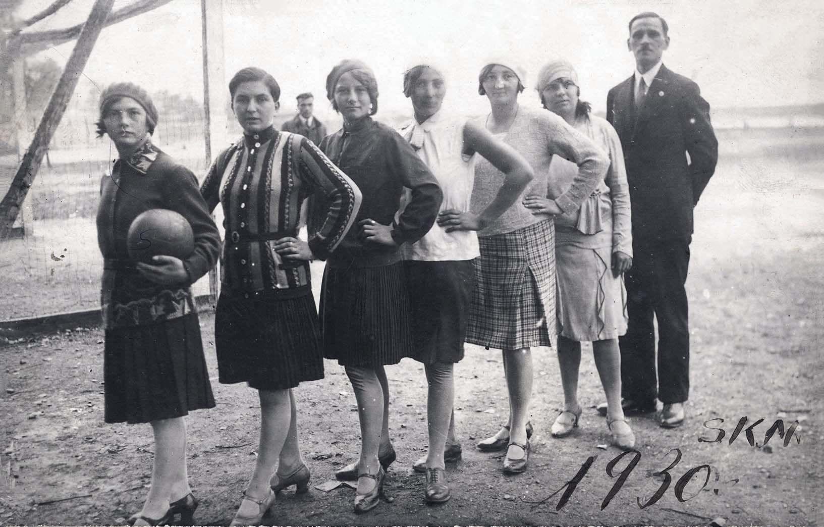 Women's soccer team with their coach, Czechoslovakia, 1930