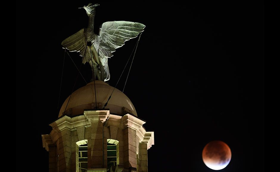 "A 'red' moon is seen during a total eclipse, in Liverpool, north west England, early on September 28. For the first time in decades, skygazers were in for the double spectacle on September 28 of a swollen ""supermoon"" bathed in the blood-red light of a tot"