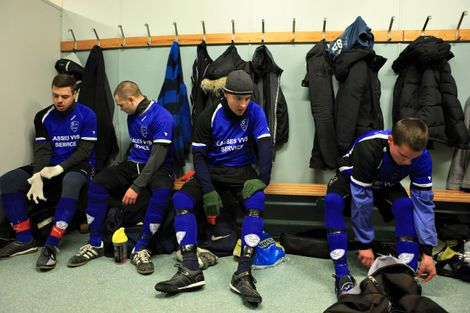 Members of SK Hakoah, a low-ranking Malmo soccer team with a Jewish history and a few Jewish players prepare for a game in Malmo, where there has been a concern in anti-Semitic activity on March 3, 2010.