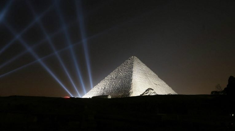 Lights shine on the pyramids during New Year's Day celebrations on the outskirts of Cairo, Egypt, January 1, 2017.