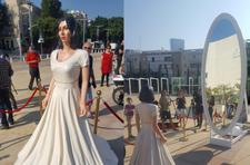 In apparent protest, life-size Minister Regev lands in Tel Aviv's cultural heart