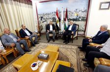 Senior Hamas figure Ismail Haniey (center, right), meets with Egyptian ambassador to Israel Hazem Khairat in Gaza on October 1 2017. They are flanked by senior figures from Hamas (right) and Egyptian security officials (left).