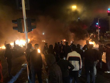 Residents of Israel's southern city of Sderot burned tires and blocked thoroughfares in protest of the recent escalation in Gaza and agreed ceasefire, November 13, 2018.