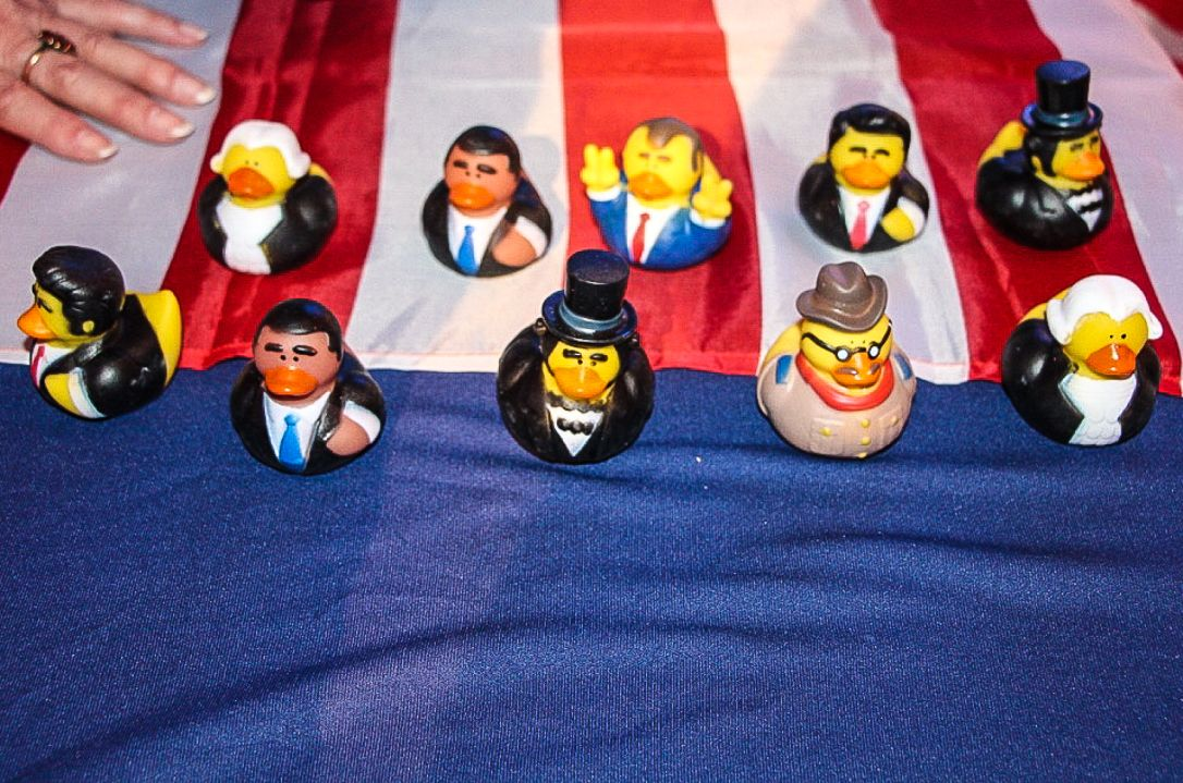 Collectible president ducks were given away as game prizes at the US embassy election party in Tel Aviv on November 8, 2016